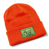 113867 - Cuffed Beanie Hat with Deer Stamp Patch, Blaze Orange - thumbnail